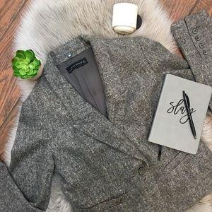 (Zara) Gray Wool Blend One Button Career Blazer